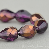 Faceted Drop (9x7mm) Amethyst Purple Transparent with Bronze