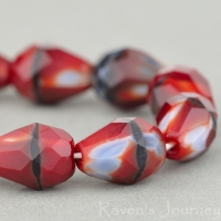 Faceted Drop (9x7mm) Red, Grey, and Jet Mix Opaque