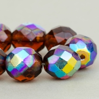 Round Faceted (10mm) Amber Transparent with AB Finish