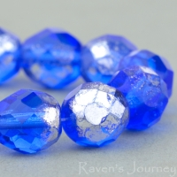 Round Faceted (8mm) Sapphire Transparent with Antiqued Silver Finish