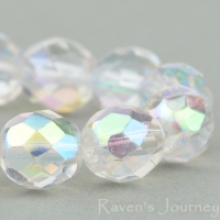 Round Faceted (8mm) Crystal Transparent with AB
