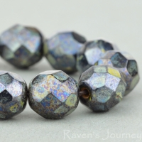 Round Faceted (8mm) Dark Bronze Opaque with Picasso
