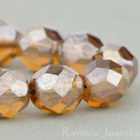 Round Faceted (8mm) Crystal Transparent with Topaz Luster