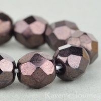 Round Faceted (7mm) Chocolate Bronze Opaque