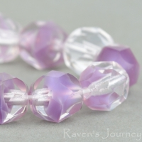 Round Faceted (7mm) Crystal Purple Mix Transparent Silk