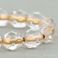 Round Faceted (6mm) Crystal Transparent with Bronze Core