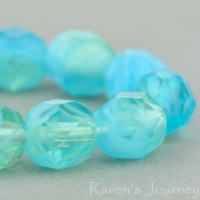 Round Faceted (6mm) Aqua, Yellow, Crystal Mix Transparent Opaque