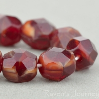 Round Faceted (6mm) Garnet Red Ivory Mix Transparent Opaque