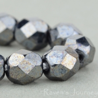 Round Faceted (6mm) Hematite Opaque