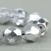 Round Faceted (6mm) Crystal with Silver Half Coat