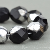 Round Faceted (6mm) Jet Opaque with Silver Half Coat
