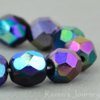 Round Faceted (6mm) Mixed Beads Purple Iris and AB Opaque