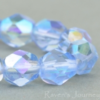 Round Faceted (6mm) Sapphire Transparent with AB