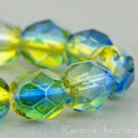 Round Faceted (6mm) Crystal, Yellow, Sapphire Mix Transparent