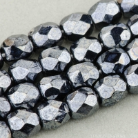 Round Faceted (4mm) Hematite Finish Opaque