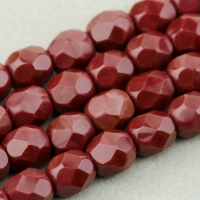 Round Faceted (4mm) Maroon Opaque