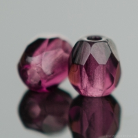 Round Faceted (4mm) Amethyst Purple Transparent