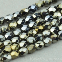 Round Faceted (3mm) Bronze Hematite Finish