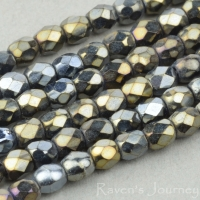 Round Faceted (3mm) Bronze Hematite Finish 2