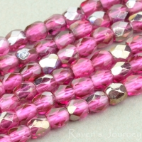 Round Faceted (3mm) Fuchsia Transparent with Platinum Half-Coat