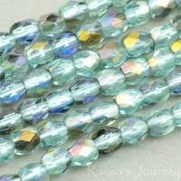 Round Faceted (3mm) Aqua Transparent with Platinum Half-Coat
