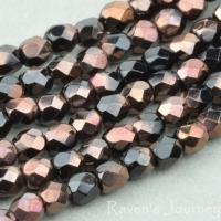 Round Faceted (3mm) Jet Opaque with Bronze Half-Coat
