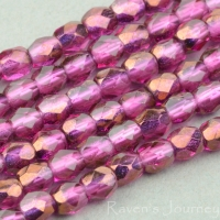Round Faceted (3mm) Fuchsia Transparent with Bronze Half-Coat