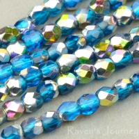 Round Faceted (3mm) Dark Aqua Transparent with Vitrail