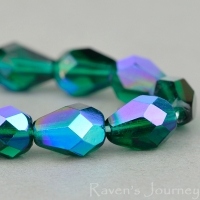 Faceted Drop (8x6mm) Emerald Green Transparent with AB