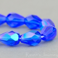 Faceted Drop (8x6mm) Cobalt Blue Transparent with AB