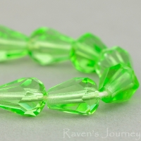 Faceted Drop (9x8mm) Lime Green Transparent