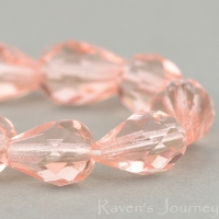 Faceted Drop (10x7mm) Pink Transparent