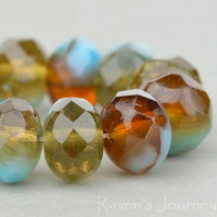 Rondelle (9x6mm) Turquoise, Blue, and Topaz Mix Opaque Transparent