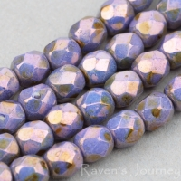 Round Faceted (4mm) Purple Greenstone Finish Opaque