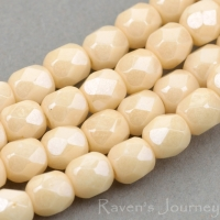 Round Faceted (4mm) Golden Luster Opaque