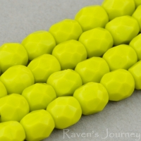 Round Faceted (4mm) Gaspeite Green Opaque
