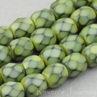 Round Faceted (4mm) Sage Green Opaque with Jet Honeycomb
