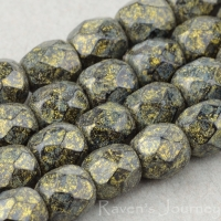 Round Faceted (4mm) Golden Green Patina Opaque