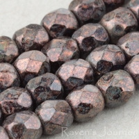 Round Faceted (4mm) Maroon Bronze Patina Opaque