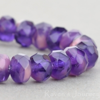 Rondelle (5x3mm) Purple Transparent and Pink Opaque Mix