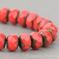 Rondelle (5x3mm) Coral Red Opaque with Picasso Finish