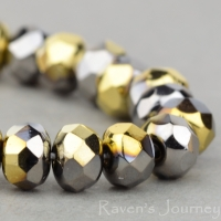 Rondelle (5x3mm) Chrome Opaque with Gold Dip