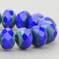 Rondelle (9x6mm) Royal Blue Opaque with Picasso