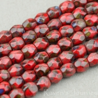 Round Faceted (3mm) Red Opaque with Picasso Finish