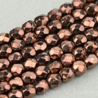 Round Faceted (3mm) Brown Opaque with Bronze