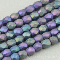 Round Faceted (3mm) Purple and Green Peacock Opaque with Purple Iris Finish