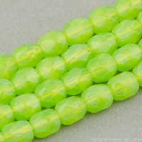 Round Faceted (4mm) Lime Green Opaline