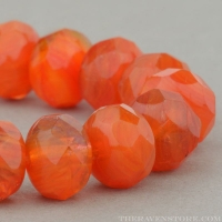 Rondelle (9x6mm) Orange, Fuchsia, Pink Mix Opaque Transparent
