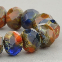 Rondelle (9x6mm) Orange, Brown, Cobalt Mix Opaque Transparent with Picasso