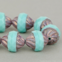 Spiral Central Cut (12x10mm) Turquoise Opaque with Purple Bronze